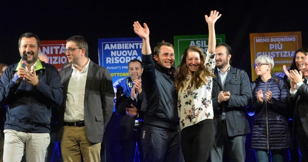 Il leader della Lega Matteo Salvini con Mirko Bisesti, Segretario Nazionale per la Lega in Trentino, e Maurizio Fugatti, candidato presidente alle elezioni provinciali di Trento
