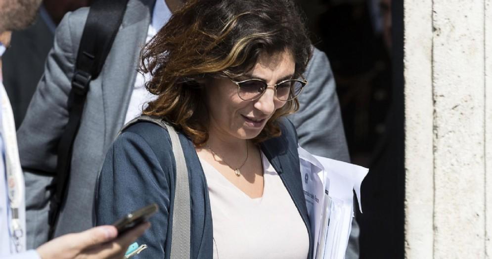 Laura Castelli al termine del vertice di governo a palazzo Chigi