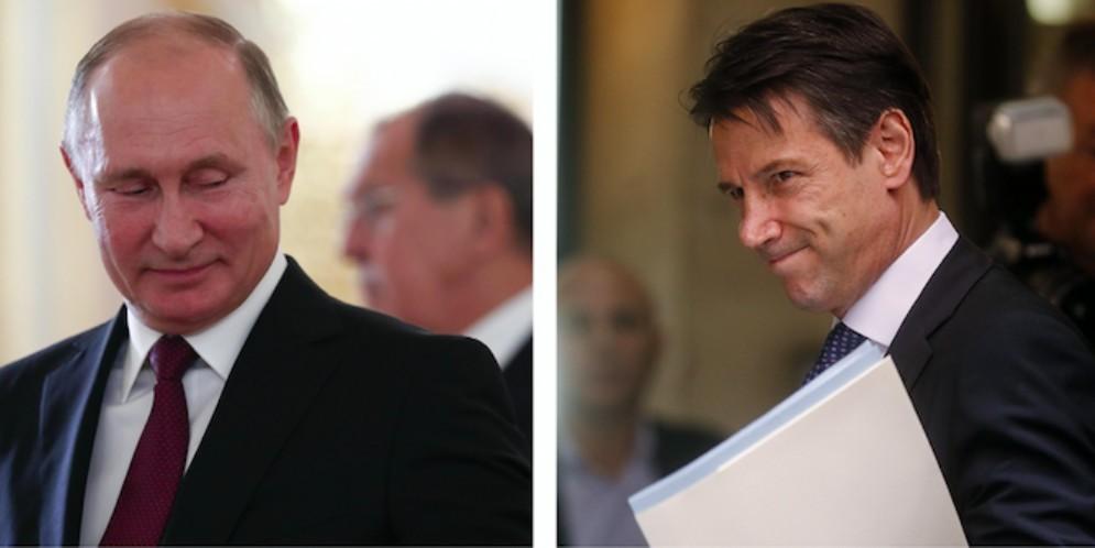 Il presidente russo Vladimir Putin e il premier Giuseppe Conte