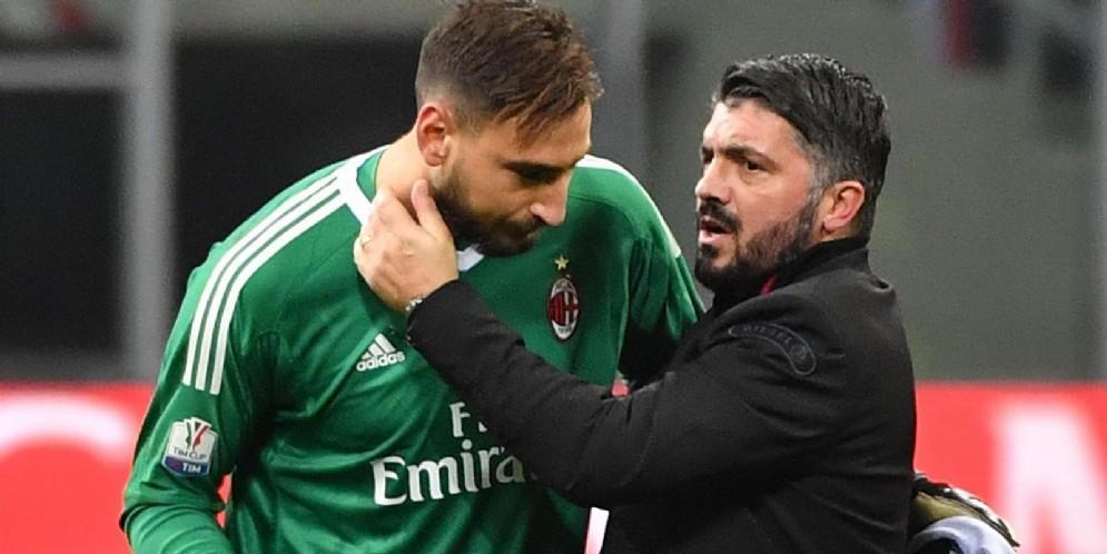 Gianluigi Donnarumma e Gennaro Gattuso, portiere ed allenatore del Milan