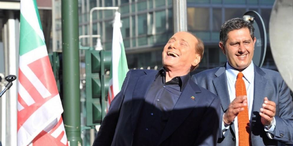 Il leader di Forza Italia Silvio Berlusconi con Giovanni Toti