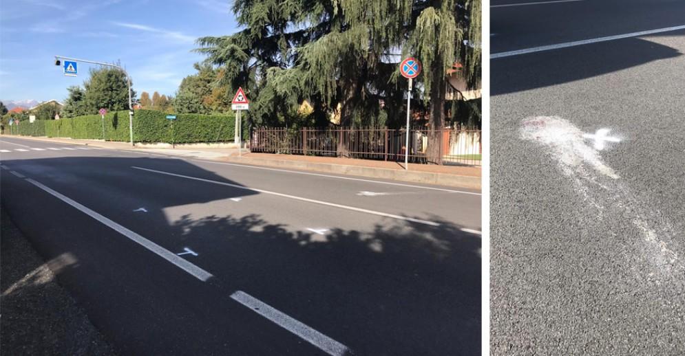 I segni della municipale sul luogo dell'incidente