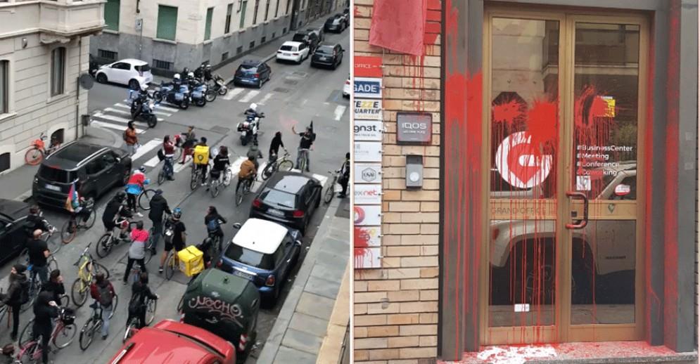 Rider in protesta vandalizzano un coworking: succede tutto sotto gli occhi dei vigili