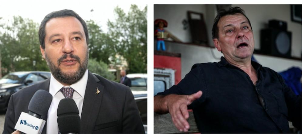 Il vicepremier e ministro dell'Interno Matteo Salvini e l'ex brigatista Cesare Battisti
