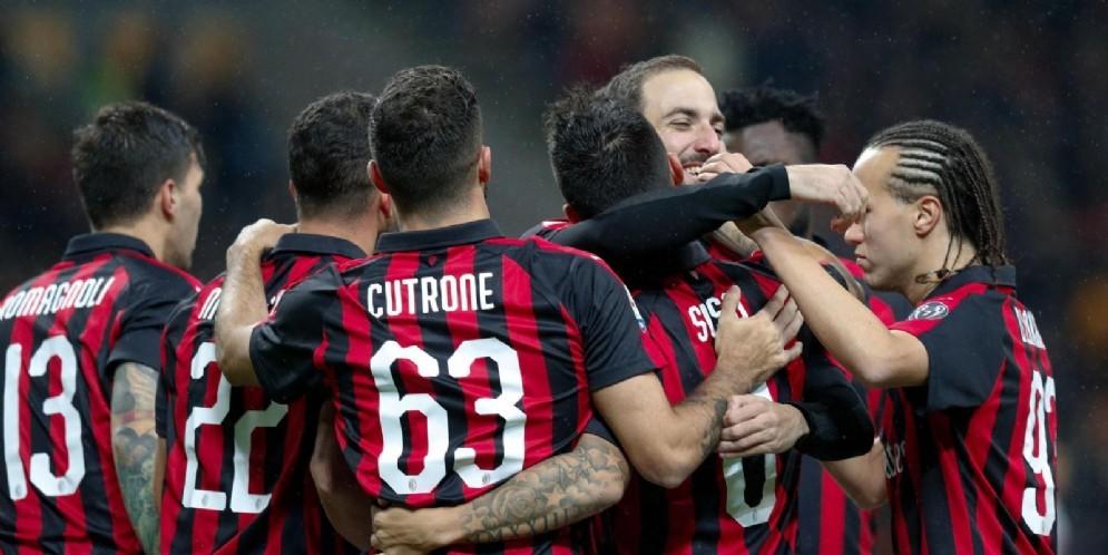 La gioia dei rossoneri dopo la vittoria