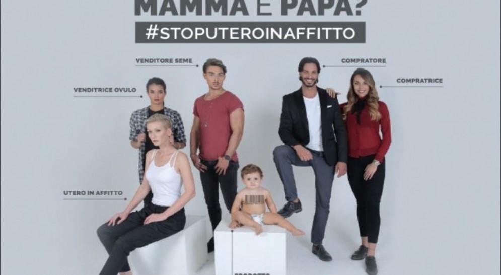 Uno dei manifesti contro l'utero in affitto proposti dalle associazioni Pro Vita e Generazione Famiglia