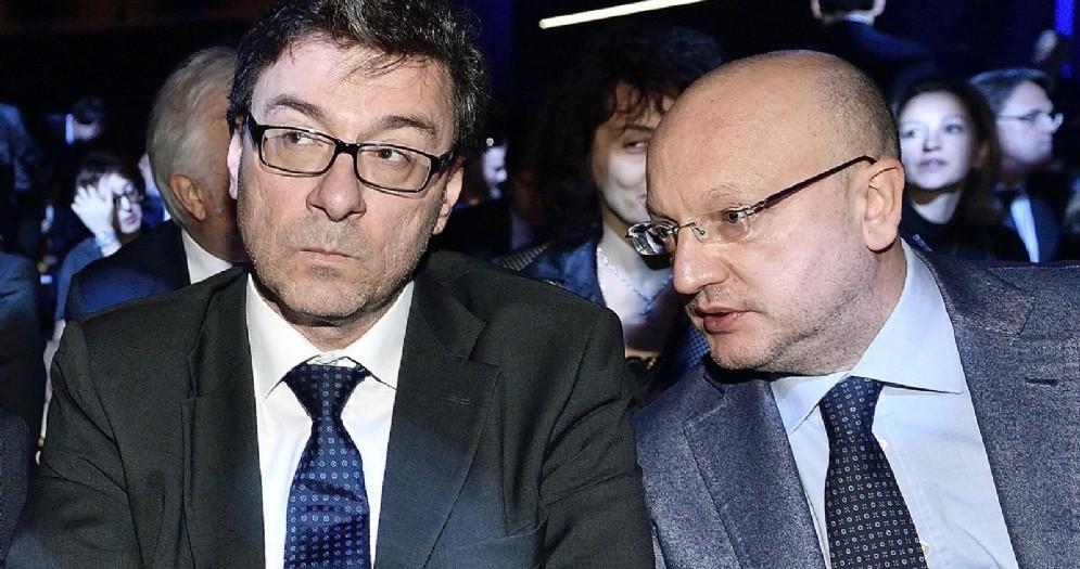 Il sottosegretario Giancarlo Giorgetti e il presidente di Confindustria Vincenzo Boccia all'inaugurazione di EICMA 2018