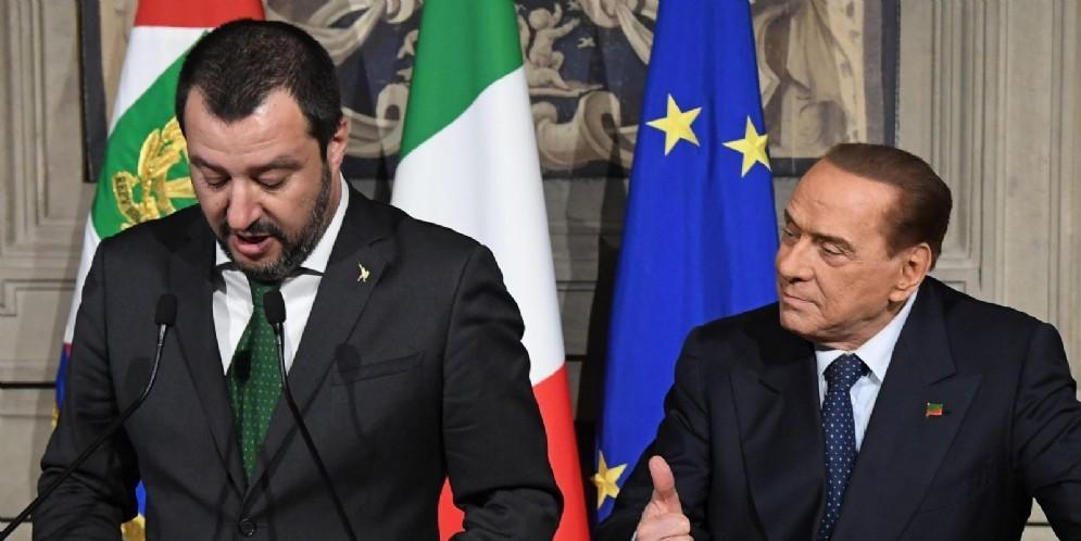 Silvio Berlusconi e Matteo Renzi durante le consultazioni al Quirinale