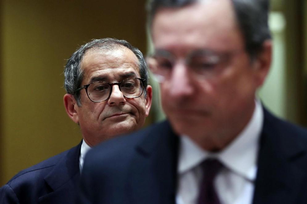 Il ministro dell'Economia Giovanni Tria, con il presidente della Bce Mario Draghi