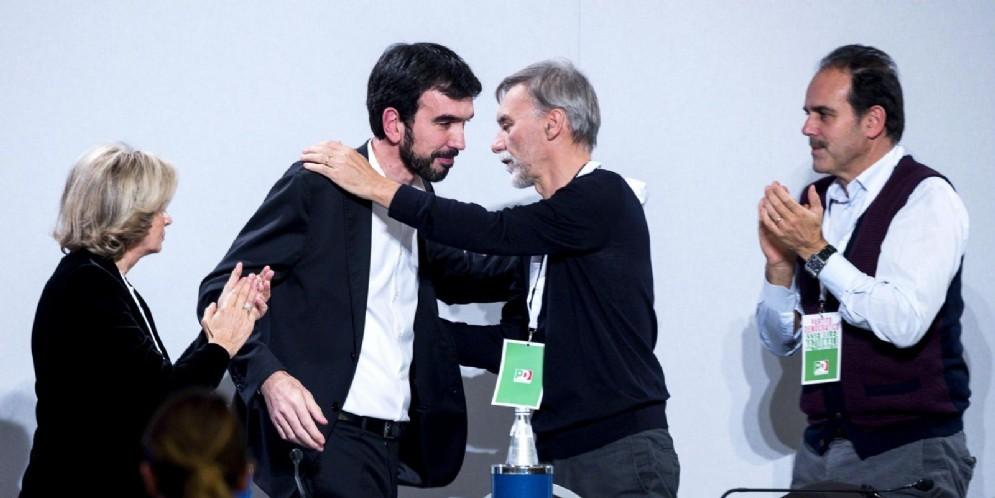 Il segretario uscente del Partito Democratico Maurizio Martina al termine del suo intervento durante l'assemblea nazionale