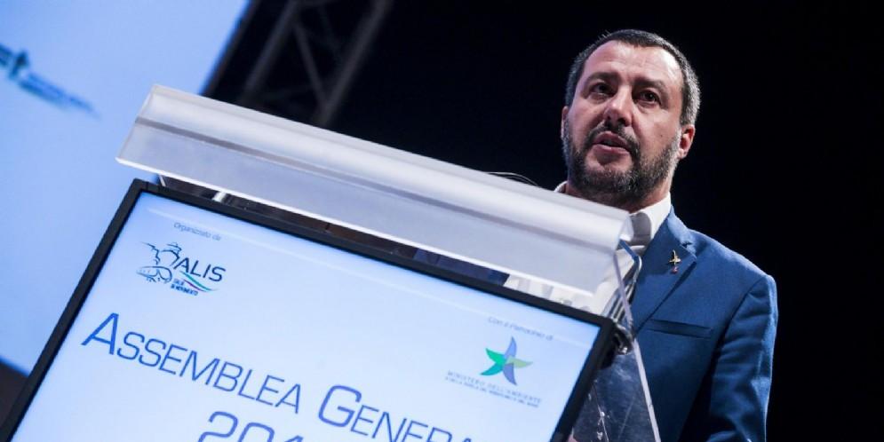 Il ministro dell'Interno e vicepremier Matteo Salvini durante la seconda Assemblea Generale ALIS (Associazione Logistica Intermodalità Sostenibile)