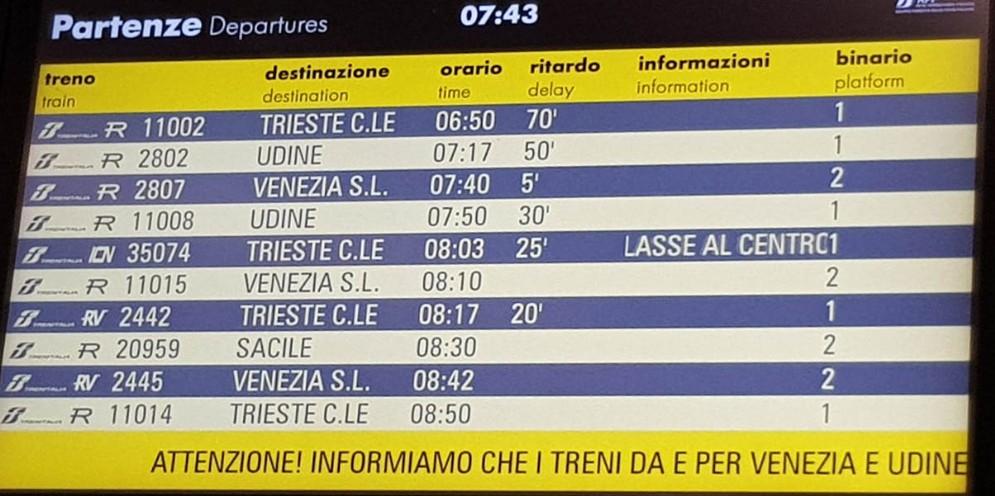 Guasto a un treno merci manda nel caos la rete ferroviaria tra Fvg e Veneto