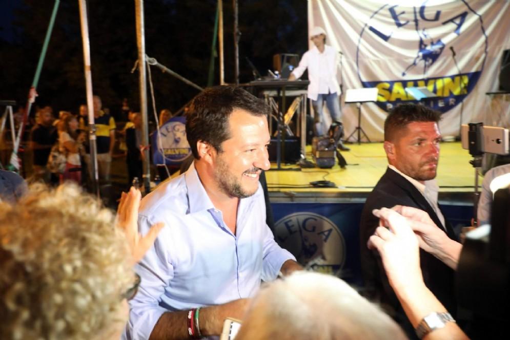 Il ministro dell'Interno Matteo Salvini alla festa nazionale della Lega ad Arcore (MB)