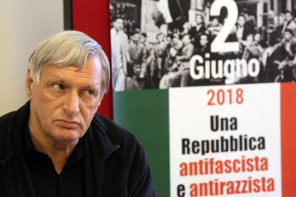 Don Luigi Ciotti al lancio della manifestazione nazionale 'Mai più fascismi'. Bologna. 30 maggio 2018