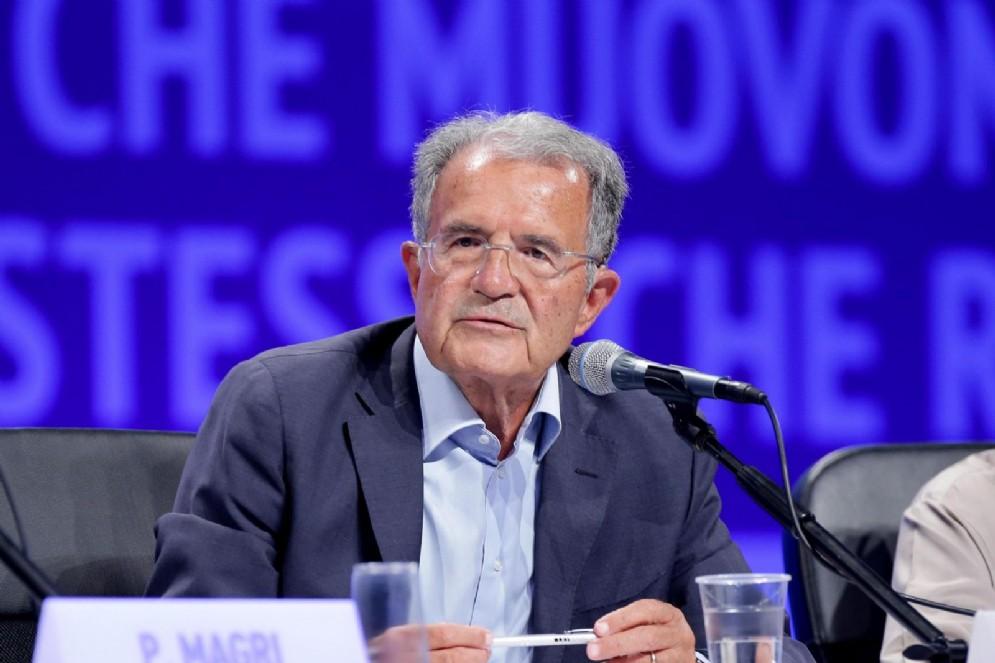 Romano prodi durante il Meeting di Cl, Rimini, 24 agosto 2018