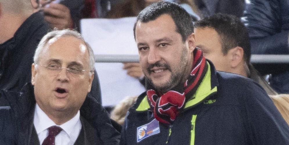 Matteo Salvini all'Olimpico accanto a Lotito