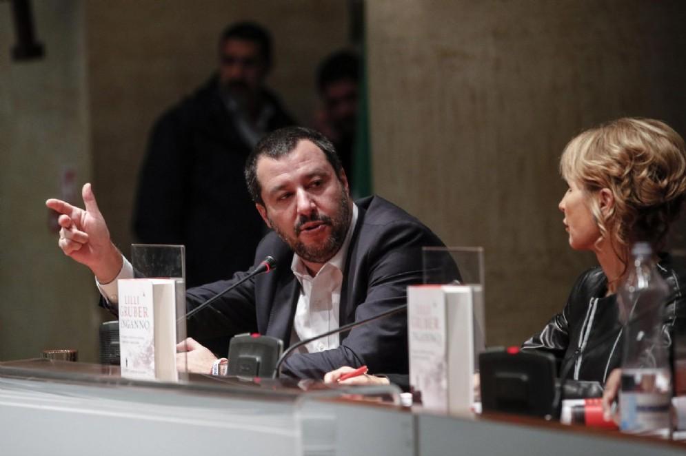 Matteo Salvini al Tempio di Adriano per la presentazione del libro di Lilli Gruber