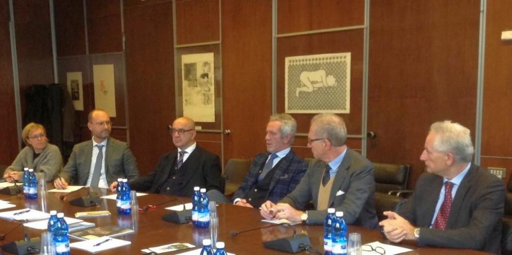 Da sinistra: Federica Collinetti, Paolo Giacometti, Angelo Grippaldi, Pier Francesco Corcione, Massimo Sella e Germano Donadio
