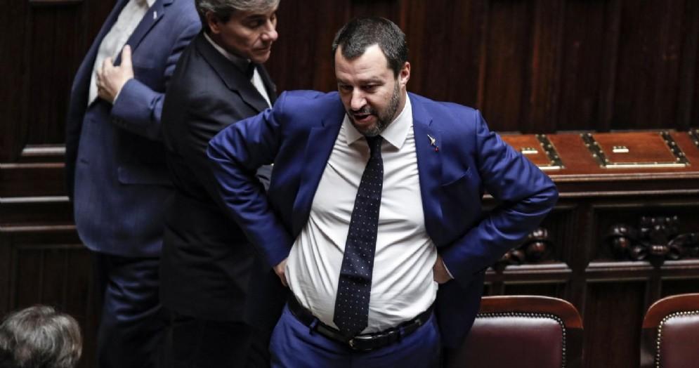 Il ministro dell'Interno Matteo Salvini alla Camera durante il voto di fiducia sul decreto Sicurezza