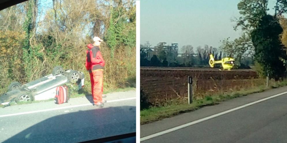 Basiliano, scontro tra due auto sulla Pontebbana: interviene l'elisoccorso