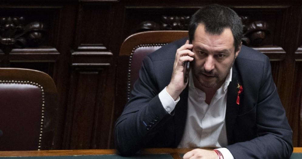 Il vicepremier e ministro dell'Interno Matteo Salvini durante le dichiarazioni di voto finale per il decreto sicurezza