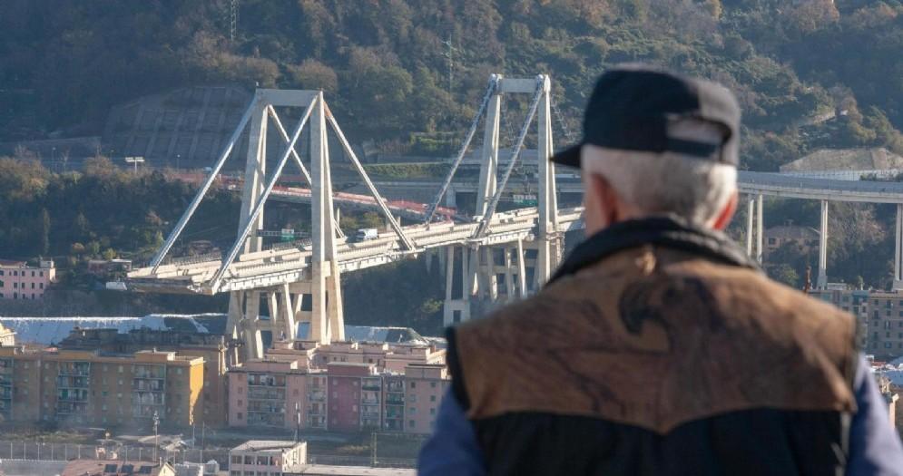 Una veduta di ponte Morandi, Genova, 28 novembre 2018
