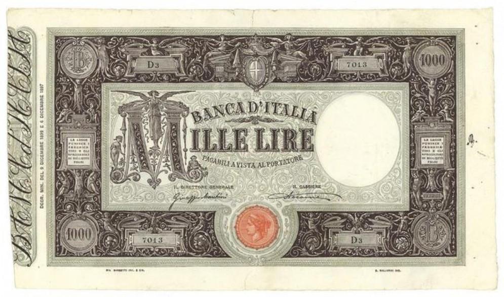 Asta record per banconota da 1000 lire del 1899