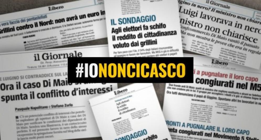 La campagna #iononcicasco lanciata dal blog del Movimento 5 stelle