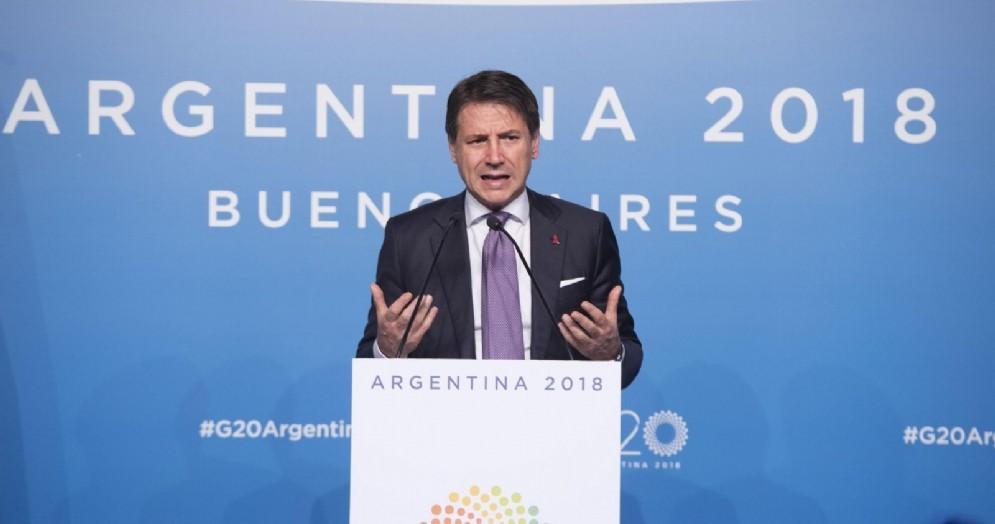 Il presidente del Consiglio, Giuseppe Conte, nella conferenza stampa al G20 in Argentina