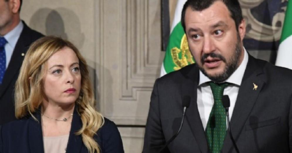 Il vicepremier e ministro dell'Interno Matteo Salvini con la leader di Fdi Giorgia Meloni