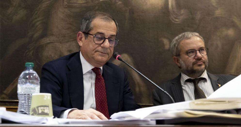 Il ministro dell'Economia, Giovanni Tria, nel corso dell'intervento sulla manovra in commissione Bilancio della Camera