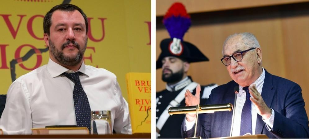 Il vicepremier e ministro dell'Interno Matteo Salvini e il procuratore capo di Torino Armando Spataro