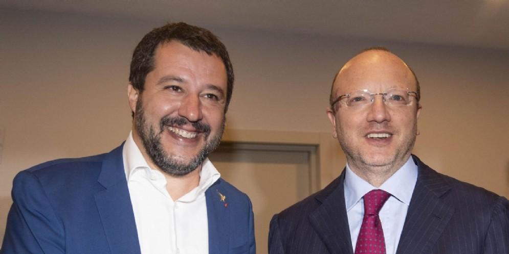 Il ministro dell'Interno, Matteo Salvini e il presidente dei Confindustria, Vincenzo Boccia