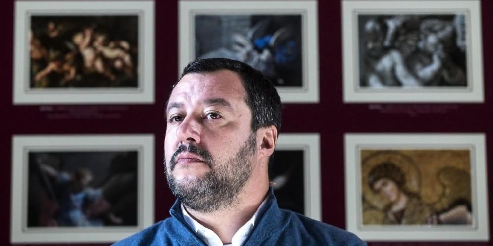 Il ministro dell'Interno e vicepremier Matteo Salvini durante la presentazione del calendario Fondo Edifici di Culto Archivio Storico del F.E.C. presso il complesso di Santa Croce in Gerusalemme a Roma