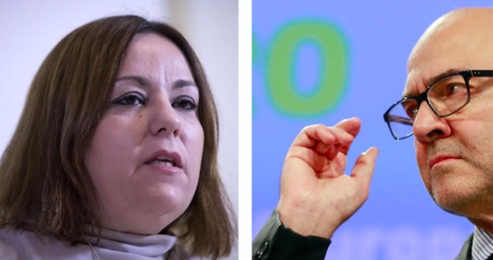 La capodelegazione del M5s al Parlamento europeo, Laura Agea, e il commissario Ue agli Affari economici e finanziari, Pierre Moscovici