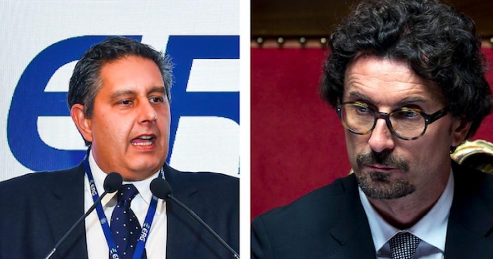 Il governatore della Regione Liguria Giovanni Toti e il ministro delle Infrastrutture Danilo Toninelli