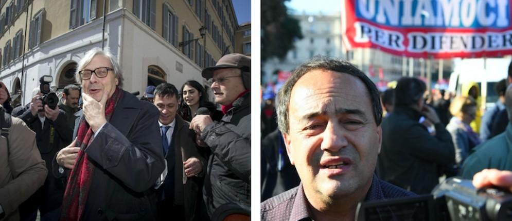 Vittorio Sgarbi e il sindaco sospeso di Riace Mimmo Lucano