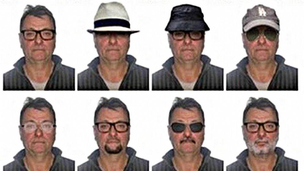 Le foto segnaletiche tratte dal sito del quotidiano O globo e diffuse dalla polizia brasiliana che riguardano Cesare Battisti con la simulazione di possibili travestimenti