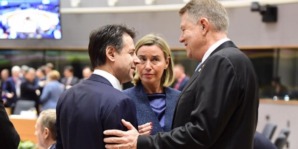 Il premier Giuseppe Conte con l'Alta Rappresentante dell'Unione Europea per gli Affari Esteri Federica Mogherini