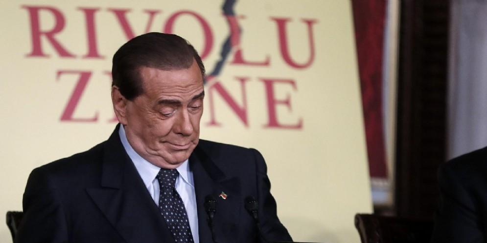 Il presidente di Forza Italia Silvio Berlusconi durante la presentazione del libro di Bruno Vespa «Rivoluzione»