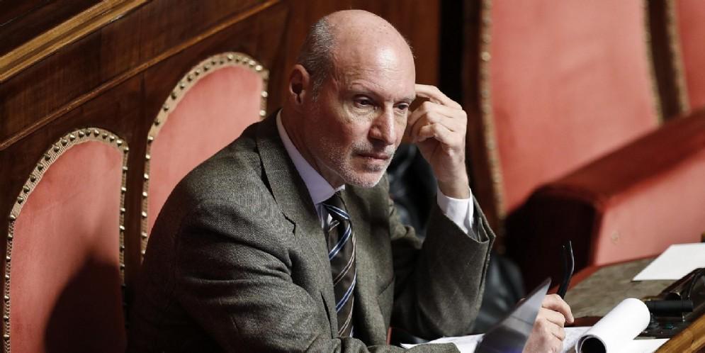 Il senatore M5s, Gregorio De Falco, durante il voto di fiducia al Senato sul decreto sicurezza