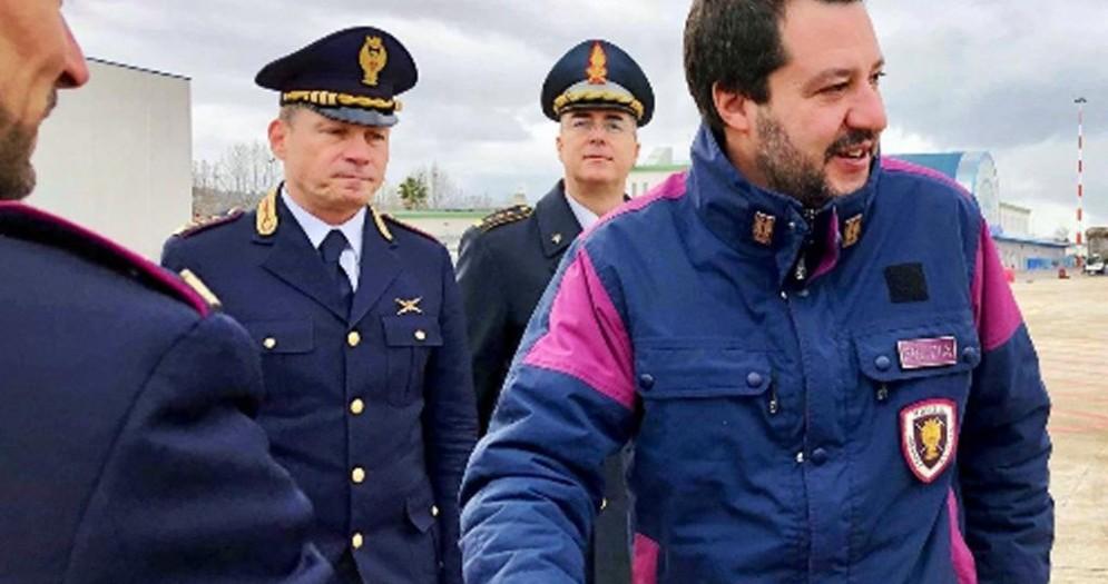 Il vicepremier e ministro dell'Interno Matteo Salvini al suo arrivo a Chieti