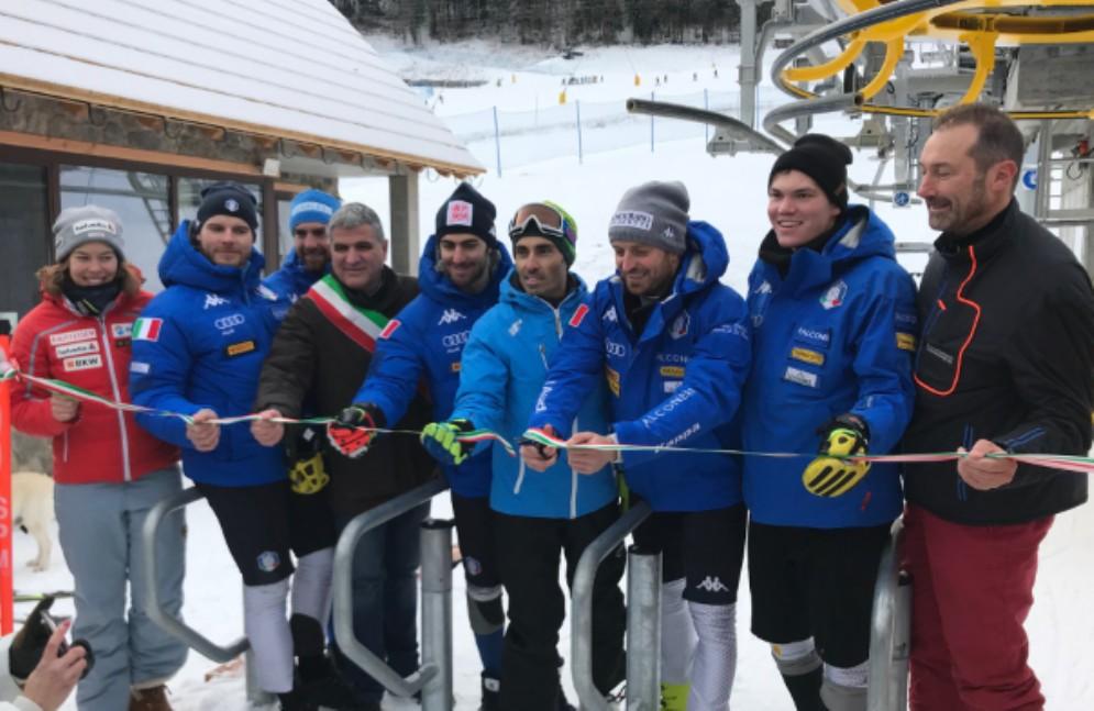 La nazionale maschile di slalom inaugura la seggiovia Nuova Tarvisio