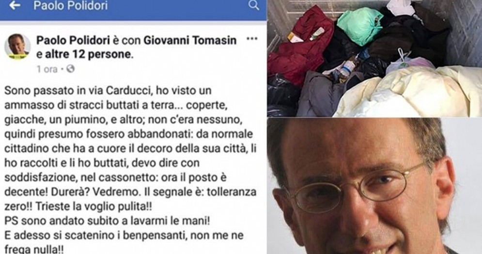 """Vicesindaco """"sfratta"""" senzatetto: «Rifiuta sempre gli aiuti, io voglio Trieste pulita»"""