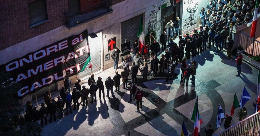 Corteo in occasione del 40esimo anniversario della strage di Acca Larentia, la strada che ospitava una sede dell'MSI dove il 7 gennaio del 1978 furono uccisi Franco Bigonzetti, Francesco Ciavatta e Stefano Recchioni