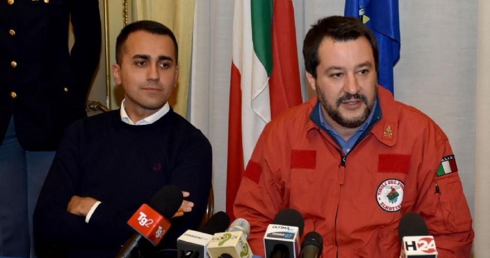 Il vicepremier e ministro dell'Interno Matteo Salvini con Luigi Di Maio
