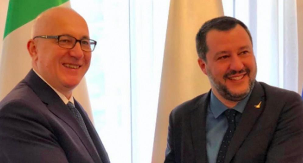 Il vicepremier e ministro dell'Interno Matteo Salvini con il premier polacco Mateusz Morawiecki