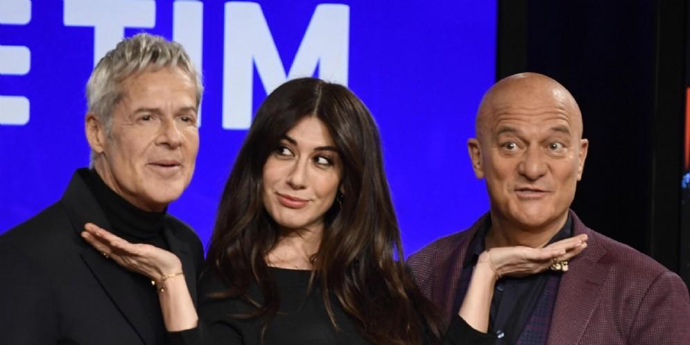 (S-D) Claudio Baglioni, Virginia Raffaele e Claudio Bisio durante la conferenza stampa di presentazione del 69esimo Festival di Sanremo