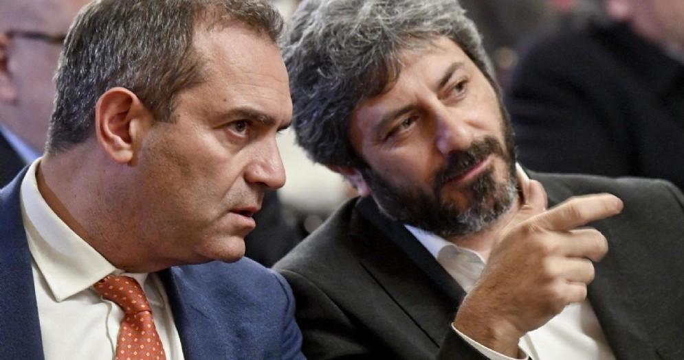 Il sindaco di Napoli Luigi De Magistris con il presidente della Camera Roberto Fico