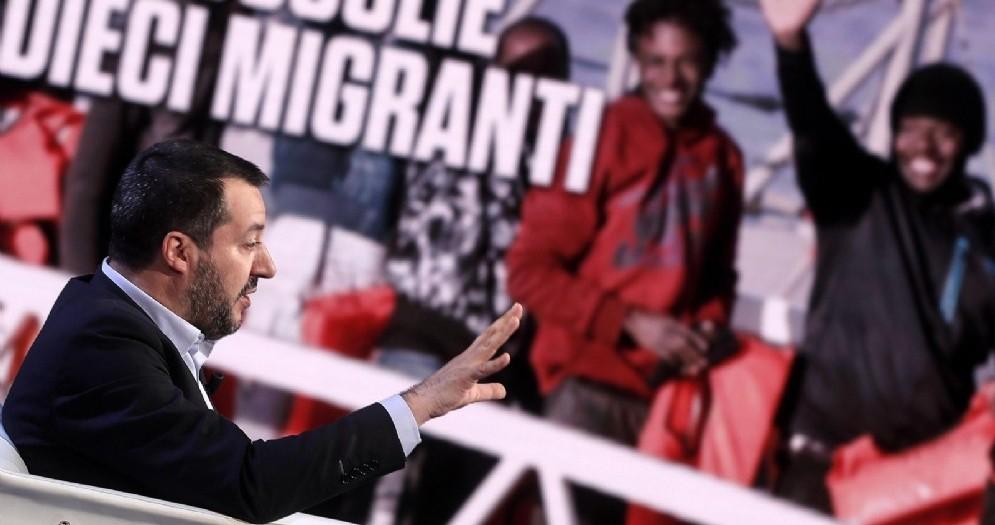 Il vicepremier e ministro dell'Interno Matteo Salvini ospite a Porta a Porta